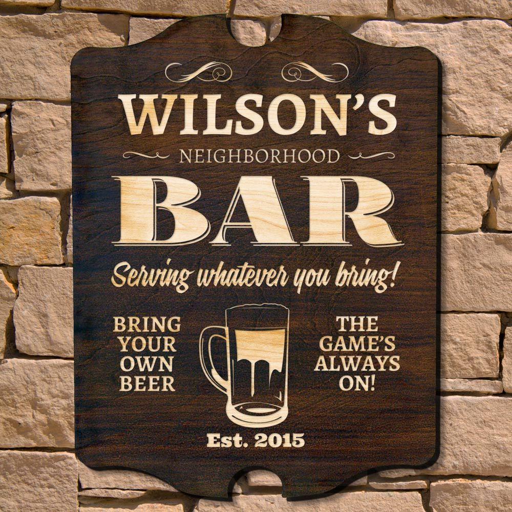 Personalised Bar Sign Any Name Garden Plaque Gift Bar Pub Backyard Bar Sign 16
