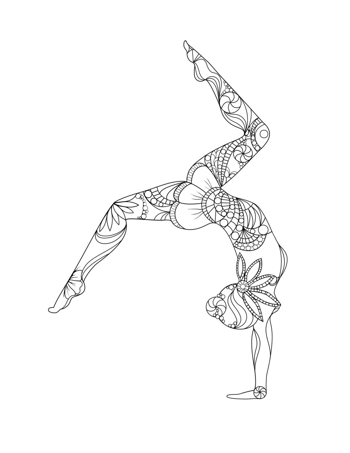 Gymnastics Hard Coloring Pages For Girls