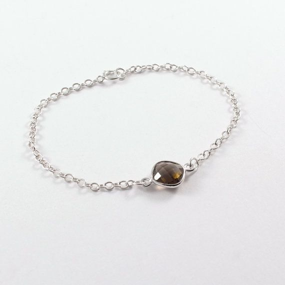 Smokey quartz bracelet in sterling silver Minimalist by Freesize