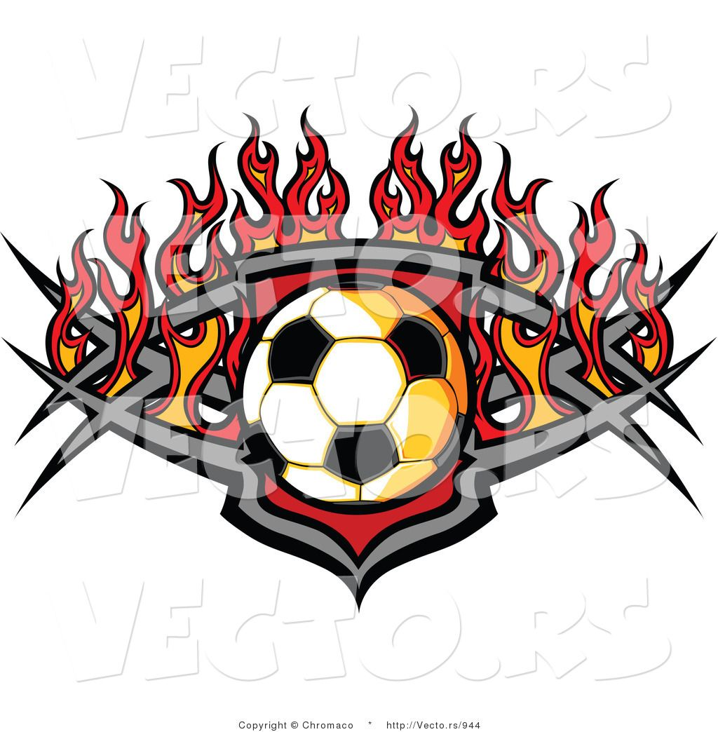flame+logo+designs of a Soccer Ball over a Tribal