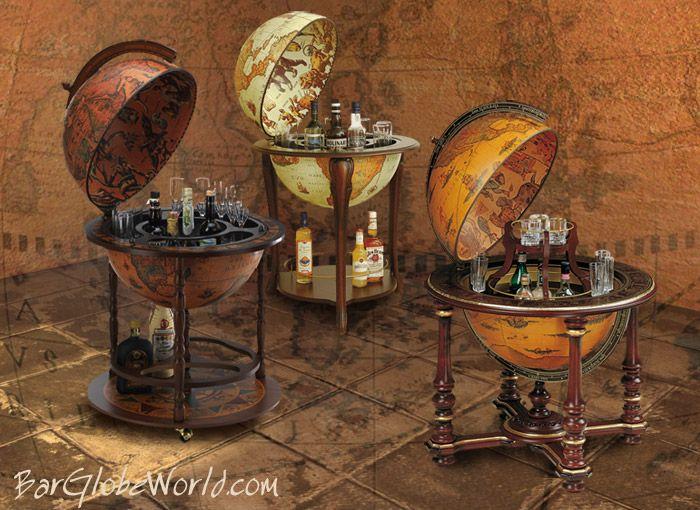 Vintage Floor Globes Repurposed Into Liquor Stashes Antike Bar