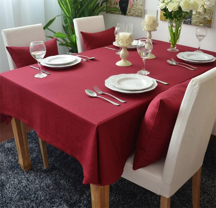 Solid Red Colored Thick Cotton Table Cloths Table Cover Restaurant