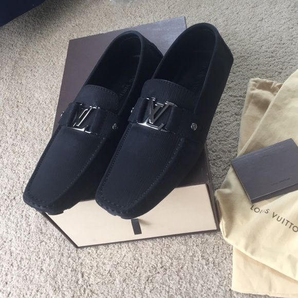 28a04334441 Louis Vuitton mens Monte Carlo drivers brand new! Black hard to find  anywhere in black and these are gorgeous. Louis Vuitton size 10 which  coverts to us 11.