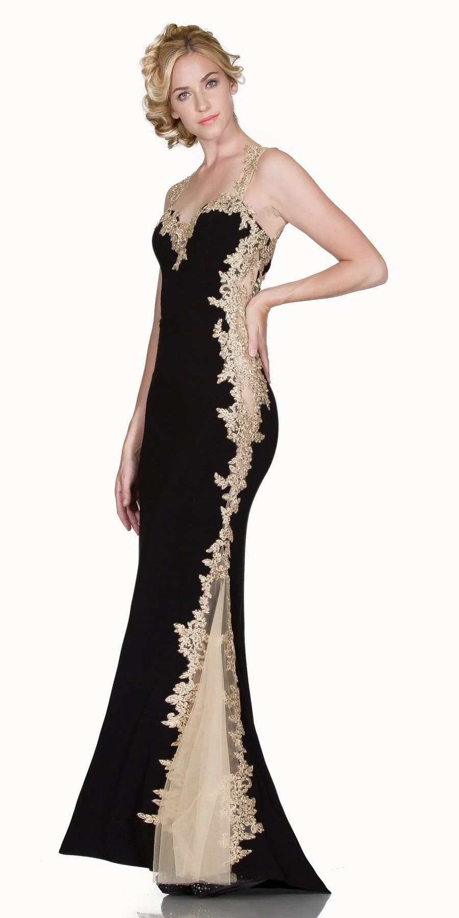 L6419 - Sheath Mermaid Silhouette Gown Red/Gold Floor Length Lace ...