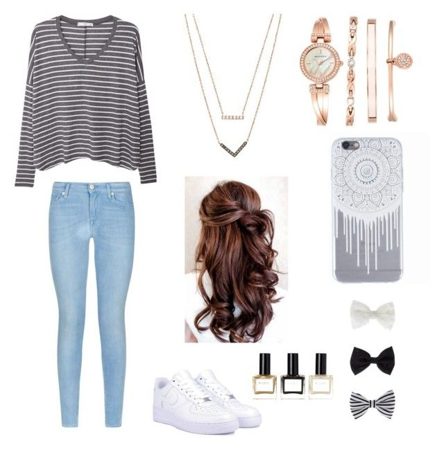 """""""School day⭐️"""" by sam018 ❤ liked on Polyvore featuring MANGO, 7 For All Mankind, NIKE, Michael Kors, Anne Klein, Accessorize and Balmain"""