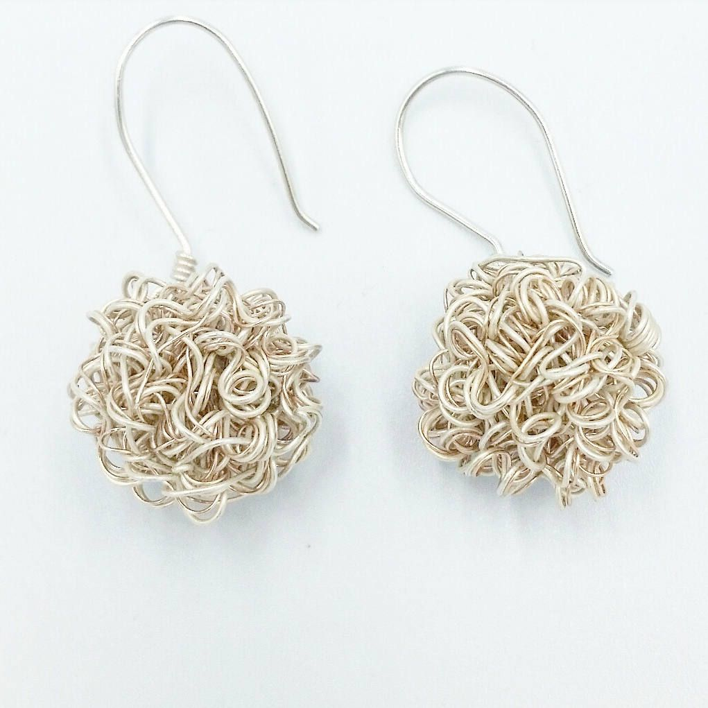Crocheted Wire Pom Pom Handmade Earrings: Silver, Rose Gold and ...