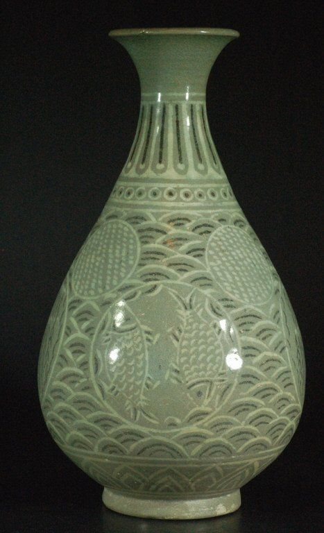 Korean Celadon Porcelain Vase On Porcelain China Pottery