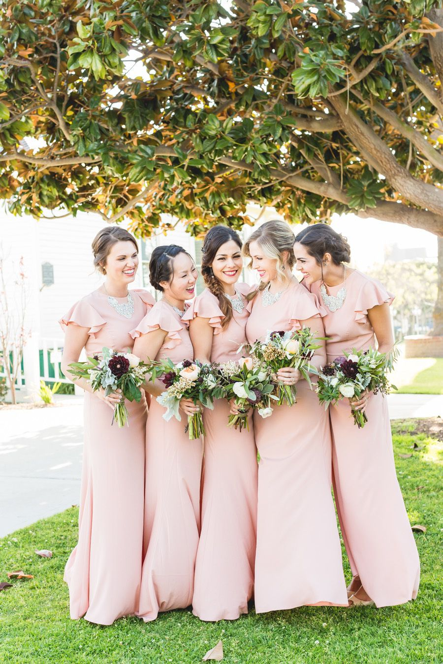 1950s inspired al fresco garden wedding groom attire maids and 1950s inspired al fresco garden wedding pale pink bridesmaidswhite bridesmaid dresseswedding ombrellifo Images