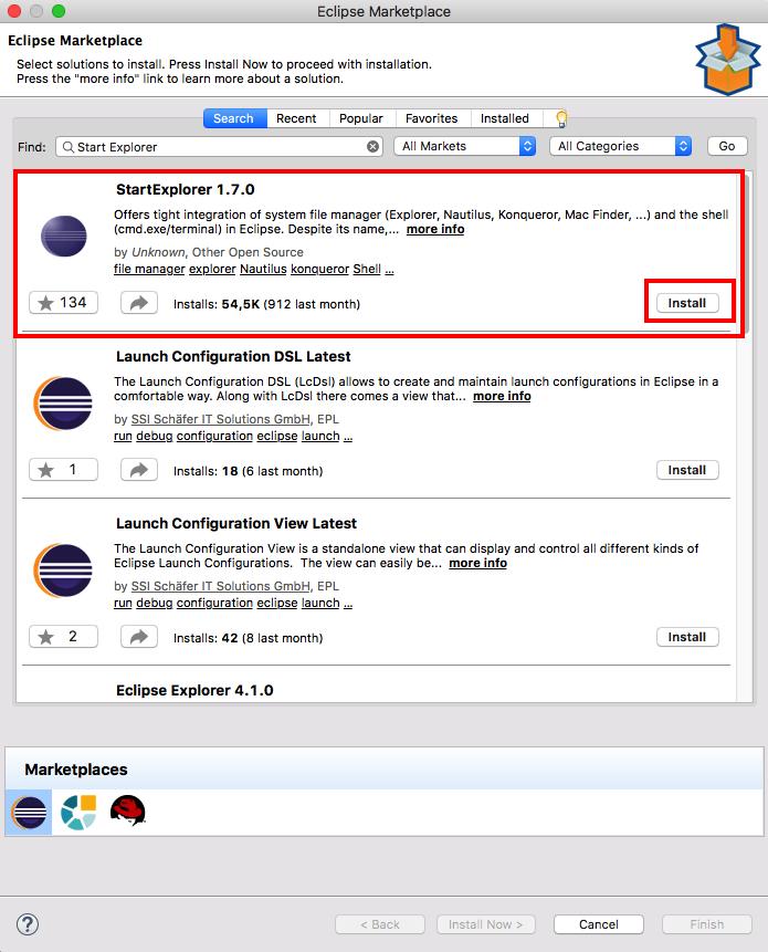 Start Explorer 1 7 0 läuft auch unter Eclipse Oxygen 4 7 Mac Os X