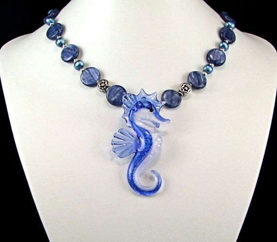 Boro Glass Seahorse Kyanite Necklace  N317 by TheSilverBear, $169.00