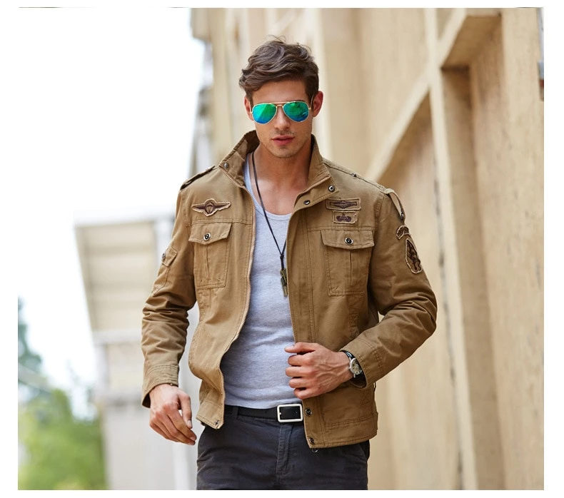 Men Bomber Jacket Military Style Fashion Loose Top Quality