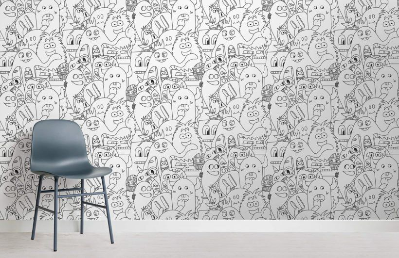 Papier Peint Fresque Monstre En Couleur Murals Wallpaper
