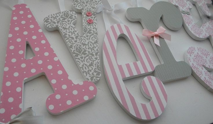 pink and gray lettters baby girl wooden letters for nursery pink