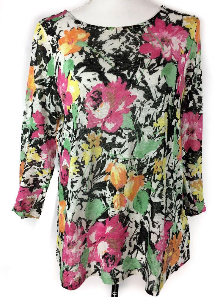 0a40259a3f387 LAUREN RALPH LAUREN Linen Top Medium Womens Black White Floral Sheer 3 4  Sleeve  LaurenRalphLauren  LinenTop  CasualWork