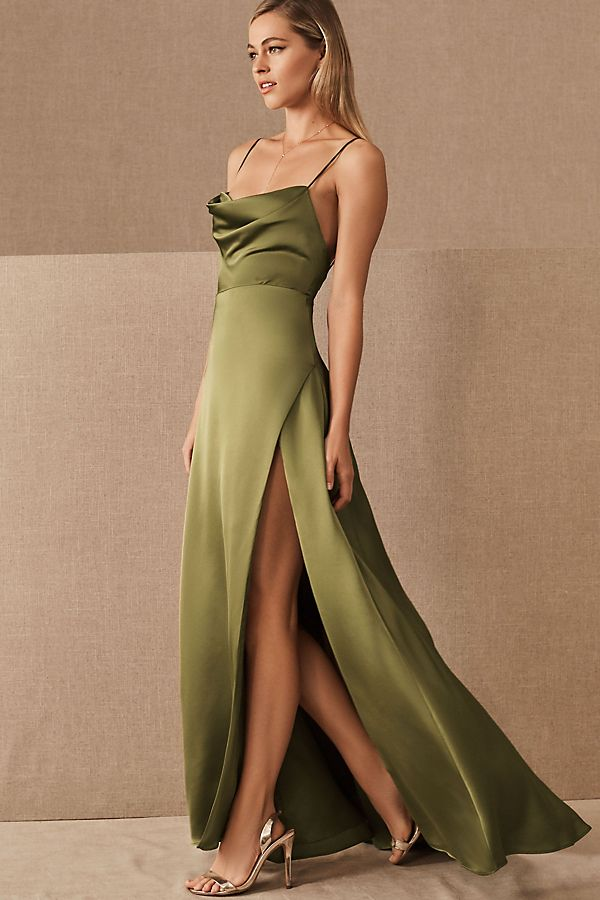 Fame and Partners Rosabel Dress by in Red Size 14, Women's Dresses at Anthropologie - Fame and partners, Dresses, Glamour dress, Olive green bridesmaid dresses, Womens dresses, Nice dresses -   Part of a special collection from BHLDN  For the full assortment, visit BHLDN com   A luxe, satiny finish and slinky silhouette bring Old Hollywood glamour to this strappy slip dress with a draped neckline and side slit  Online exclusive