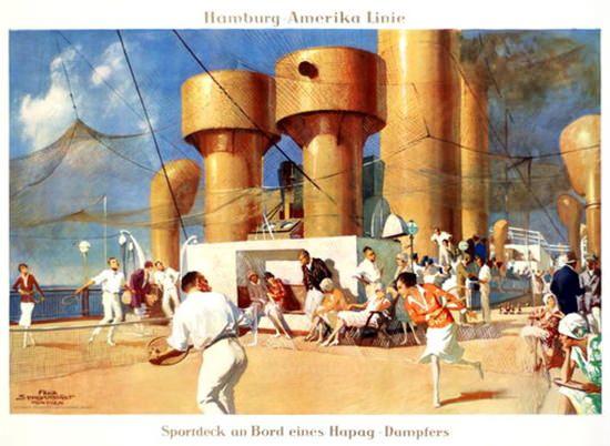 Hamburg-Amerika Linie HAPAG Sportdeck 1928 - wwwMadMenArt - Chambre De Commerce Boulogne Sur Mer