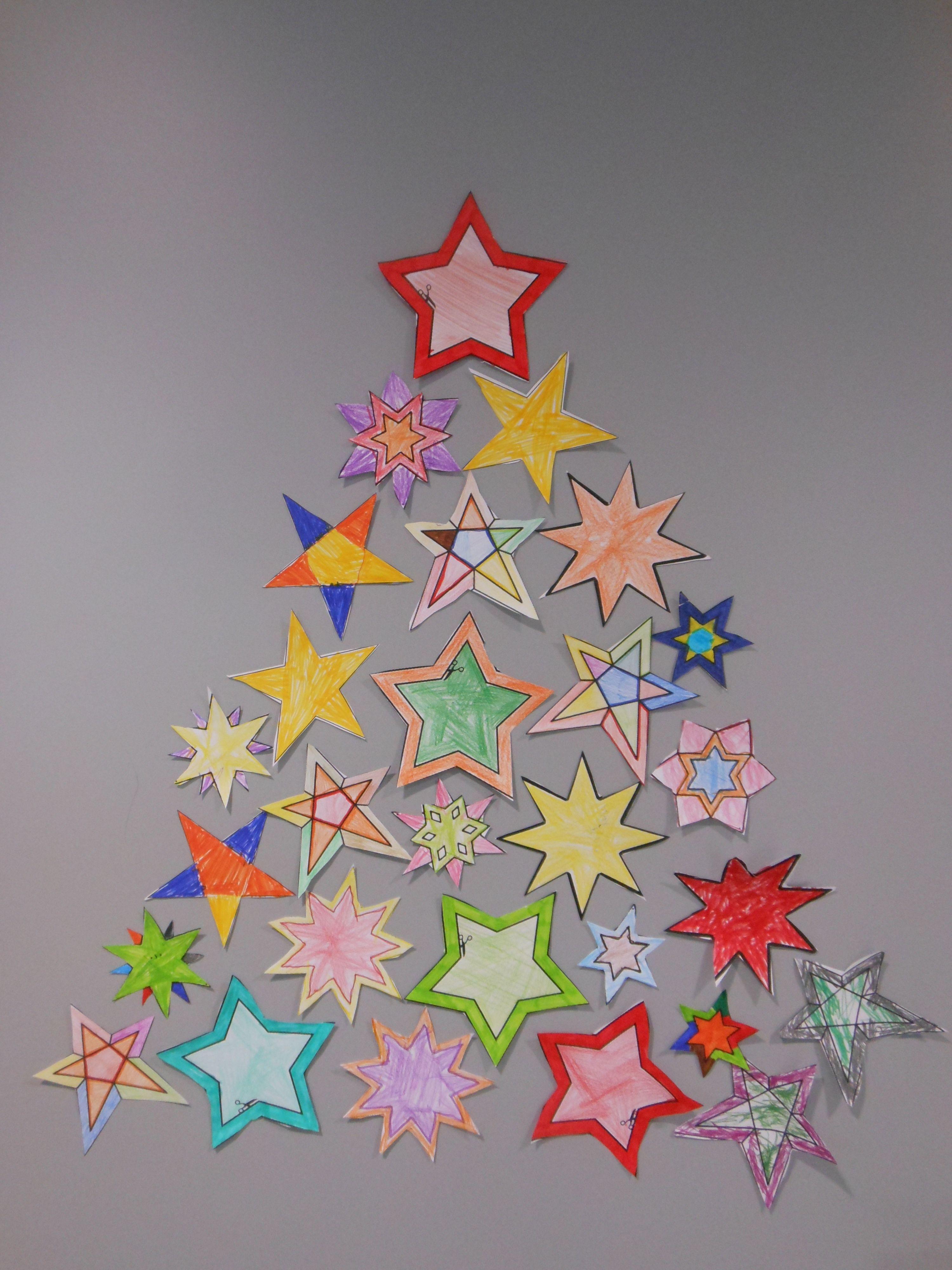 Kerstboom Van Sterren Craft Decorationsjul