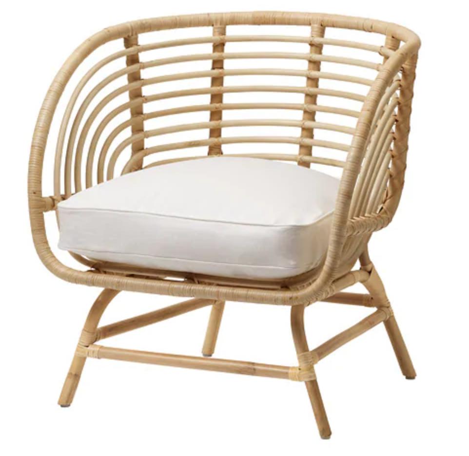 BUSKBO Armchair, rattan, Djupvik white IKEA Rattan