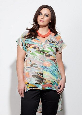 Fashion Plus Size - Large Size Womens Clothes, Tops & Dresses | Fashionable Plus Size Clothes - STAINED GLASS TUNIC BLOUSE - Virtu