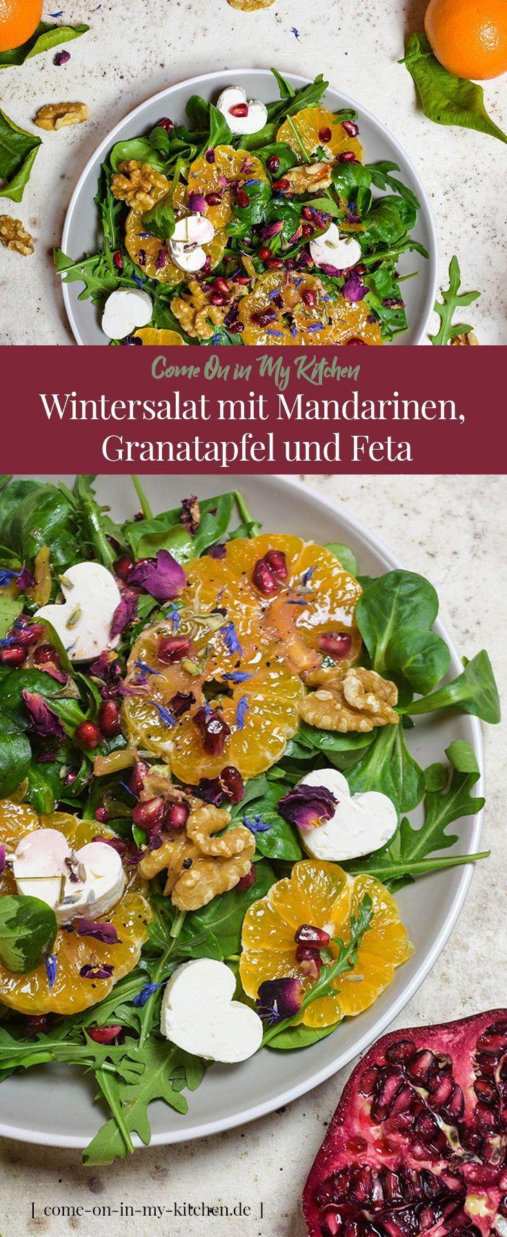 Wintersalat mit Mandarinen, Granatapfel und Feta