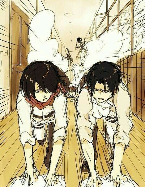 Mikasa, Levi, cleaning, funny, rivals, characters; Attack on Titan