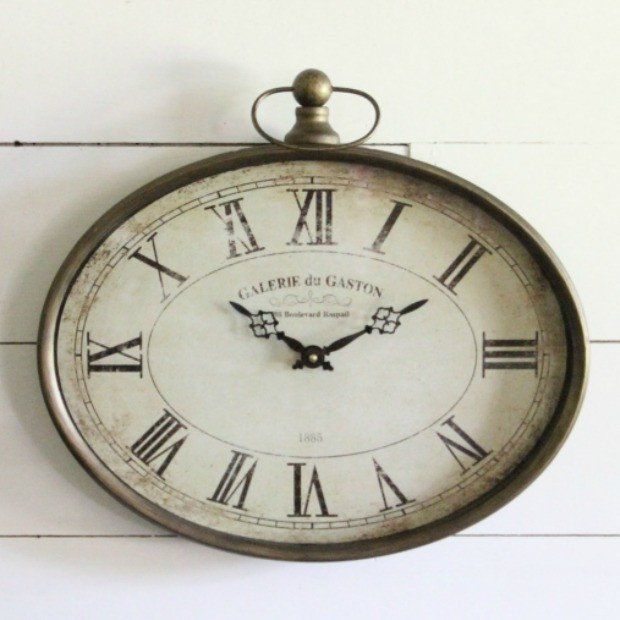 Vintage French Soul Jefferson Pocket Watch Wall Clock Brown Wall Clocks French Wall Clock Roman Numeral Wall Clock