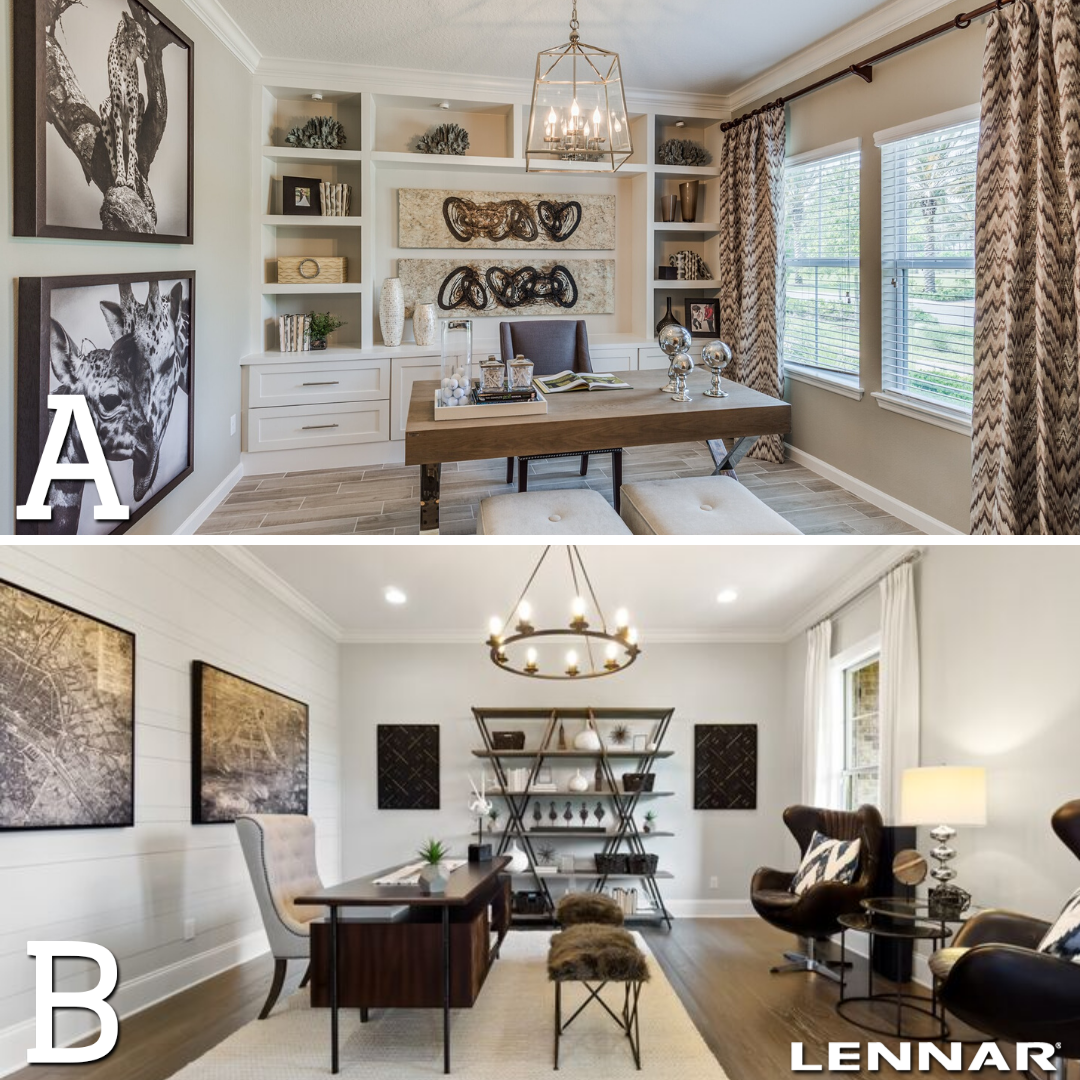We want to know! Which office space STYLE makes you SMILE?! 😁 A or B?  #newhome #dreamhome #study #officedesign #officespace #interiordesign #interiordesign #design #newhome #home #homedecor #homedesign #roomdecor #lennar #lennarhome #lennarsa #newconstruction #sarealestate #realestate #homebuilder #texas #sanantonio #builder #realty #lennarsanantonio #lennarnewhome