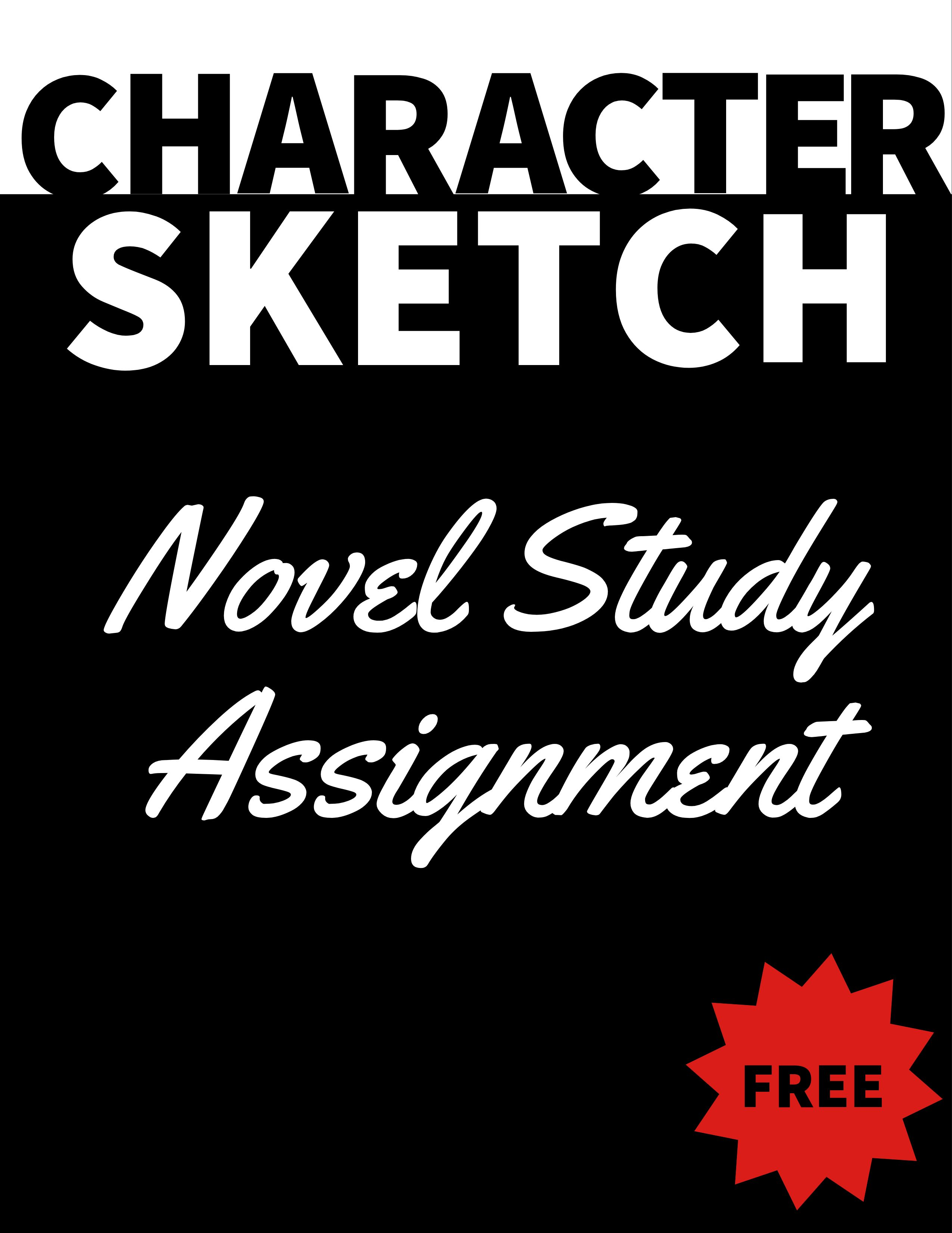 FREE - Character Sketch Assignment for High School Novel