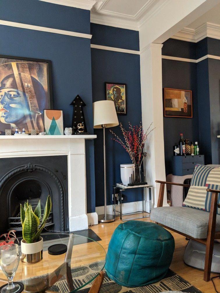 Dulux Breton Blue Paint Ikea Ekenäset Armchair 60s Vintage Coffee Table Metropolis Print And C Blue Living Room Blue Dining Room Decor Victorian Living Room