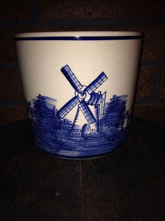 Vintage Holland Windmill Crock or Planter Cobalt on Ivory  on Etsy, $22.00