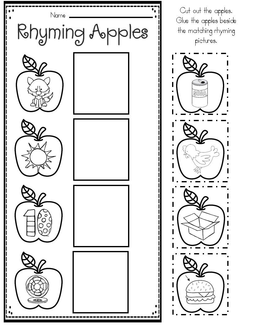 Apple Themed Math And Literacy Printables For Young Learners Literacy Printables Kindergarten Worksheets Printable Rhyming Worksheet - 17+ Free Printable Rhyming Worksheets For Kindergarten Cut And Paste Gif