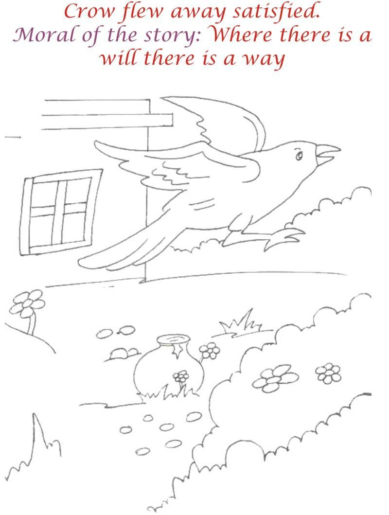 Thirsty Crow Story Coloring Page For Kids 12 Coloring Pages For