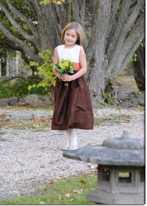 FLOWER GIRL DRESSES in Mango Orange And Chocolate Brown By Pegeen by Pegeen