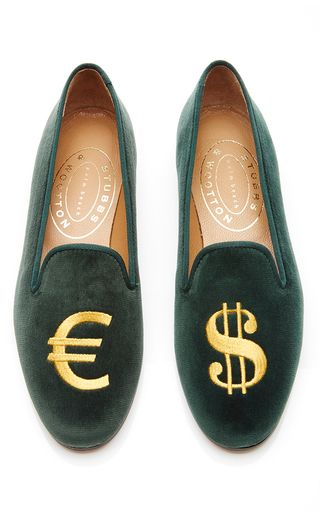 bb6c20f59fb6 These slippers by   Stubbs   Wootton   are hand made in Spain and feature a  black velvet body with an embroidered Euro and Dollar symbol.