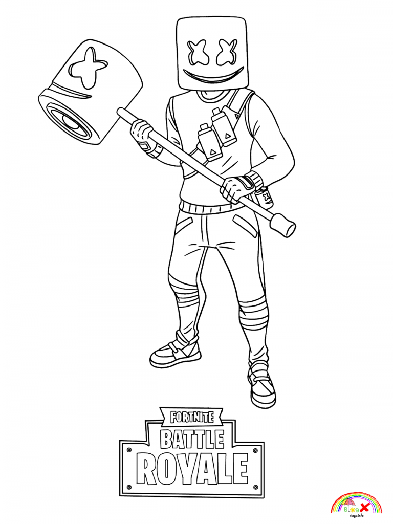 Marshmello Fortnite coloring page for kids - Blogx.info - Blogx