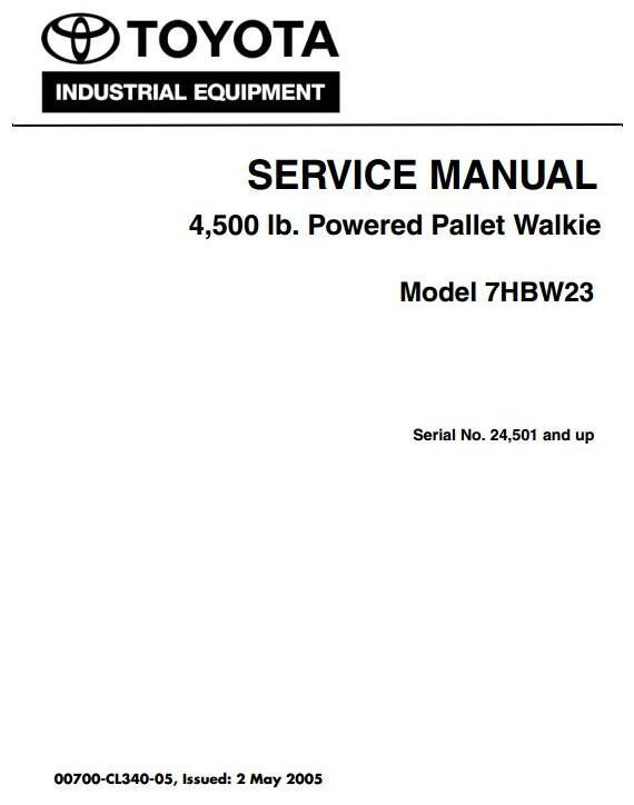 original illustrated factory workshop service manual for toyota powered pallet walkie type 7hbw