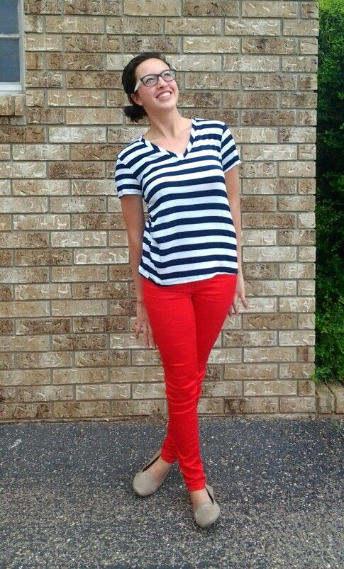 Red pants Outfit - red pants, navy blue and white striped shirt ...