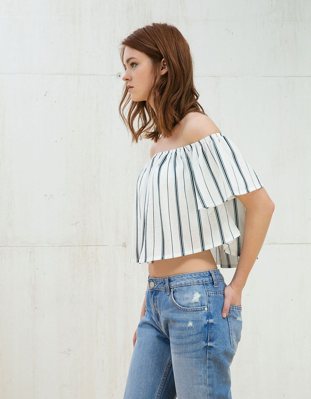 54526ae3b9e Veracruz ruffle top. Discover this and many more items in Bershka with new  products every week