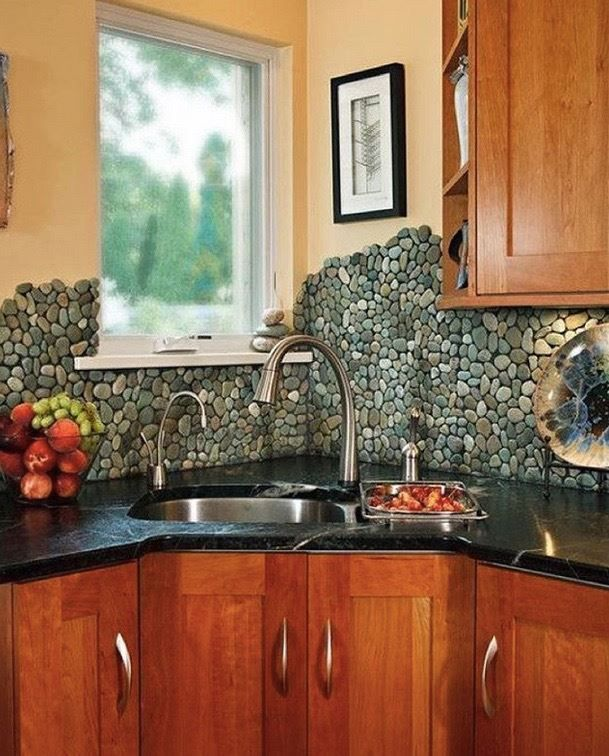 walls What do you think of this funky stone backsplash? Yay or nae ...