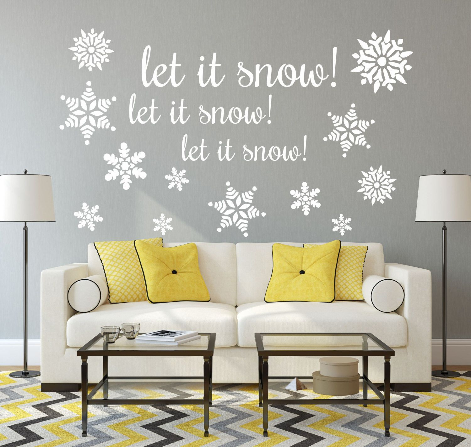 Christmas Decorations, Christmas Decor, Snowflakes Decals, Let It Snow,  Christmas Wall Decal