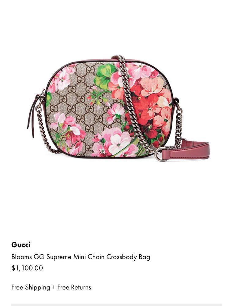 4c10ad95beb Authentic GUCCI Bloom GG Supreme Mini Chain Crossbody Bag (Free Shipping)