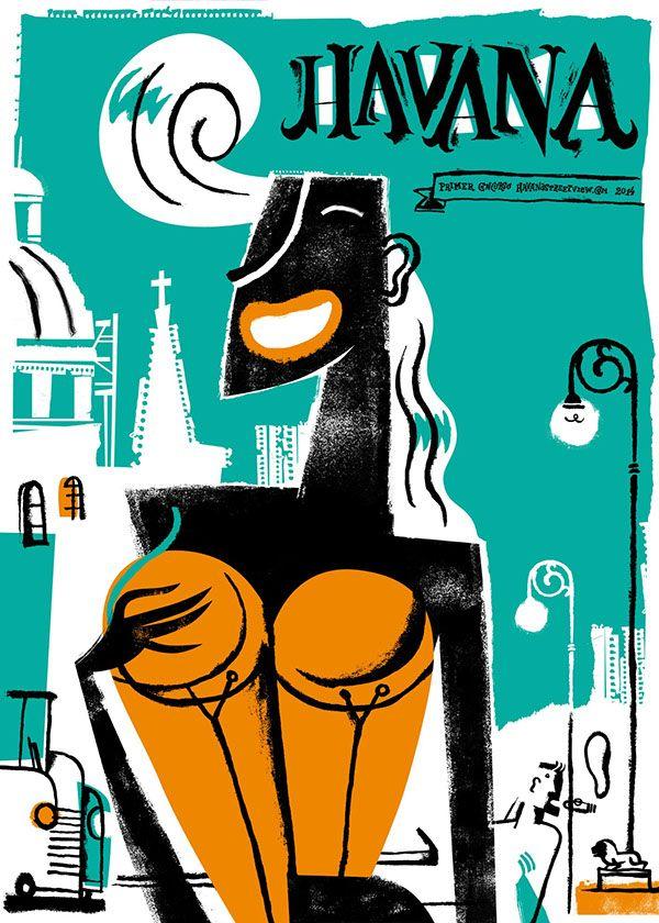 HAVANASTREETVIEW  Posters by Edel Rodríguez Molano, via Behance