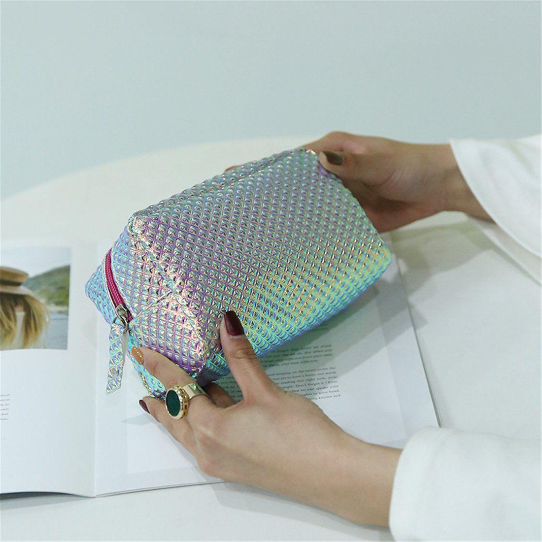 Susanki Holographic Plaid Makeup Bag Large Cosmetic Pouch