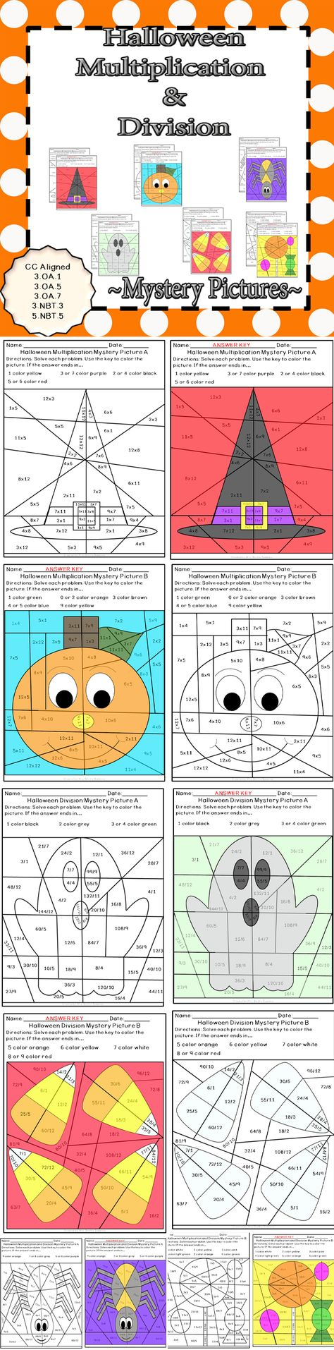 Halloween Multiplication and Division Mystery Pictures   Math fact ...