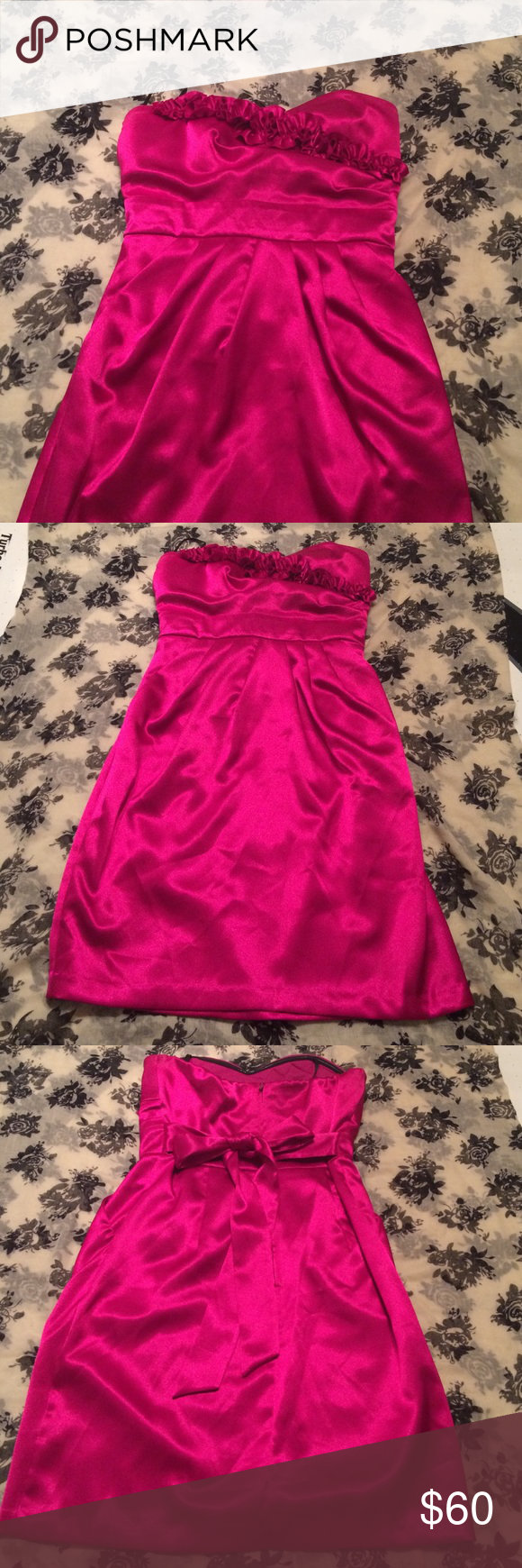 Fuchsia formal dress this once worn dress size fits from bcx