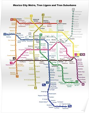 Mexco City Subway Map.Mexico City Metro Mexico City Poster In 2019 Products Subway