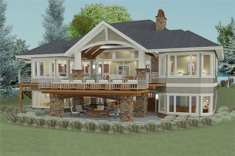 2 Bedroom Transitional Ranch House Plan 2605 Sq Ft 2 5 Bath Craftsman House Plans Brick Exterior House Lake House Plans