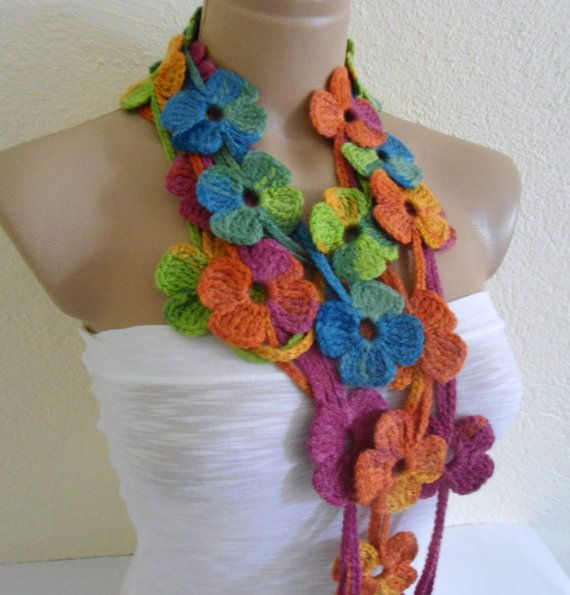 Flower Lariat Scarf Multicolor Scarf With Crochet By Likeknitting