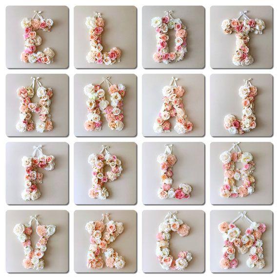 Personalisierte Beschriftung, Wandkunst, Brautdusche, Flower Letters Large, Floral Letter Hoc...