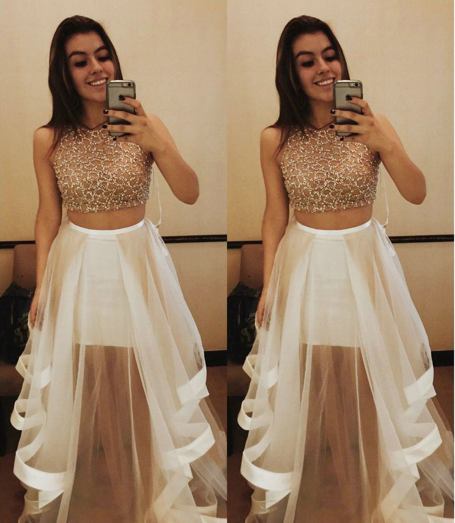 high fashion two piece prom dresses tulle skirt with beading